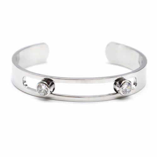 Bracelet-Jonc-Ouvert-Metal-Argente-Ajoure-avec-Double-Pierres-Facettes