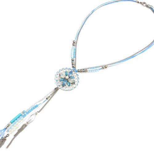 Collier-Double-Cordons-et-Pendentif-Y-Cercle-Pierres-Chaines-et-Perles-Bleu