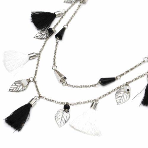 Sautoir-Collier-Double-Chaine-avec-Perles-Feuilles-Metal-et-Pompons-NoirBlanc