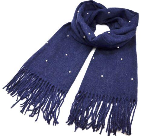 Echarpe-Longue-Laine-Chinee-Unie-avec-Mini-Perles-et-Franges-Bleu-Marine