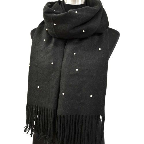Echarpe-Longue-Laine-Chinee-Unie-avec-Mini-Perles-et-Franges-Noir