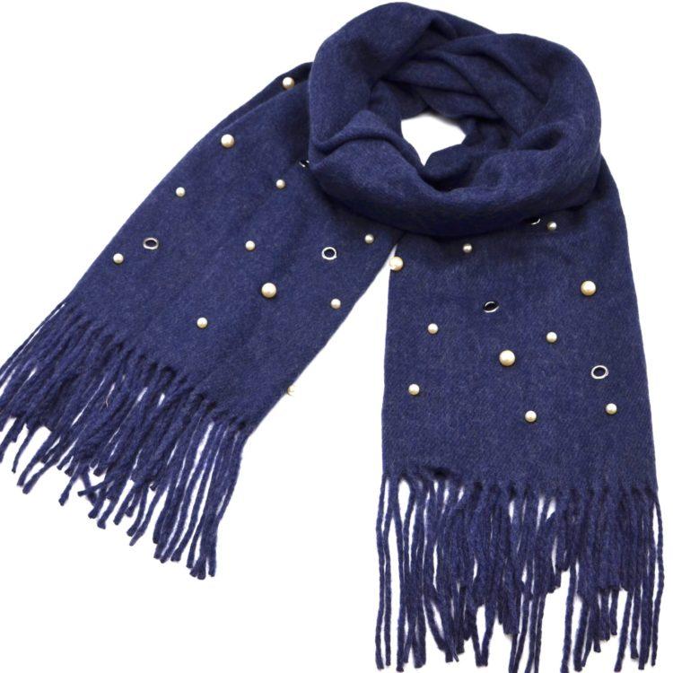Echarpe-Longue-Laine-Chinee-Unie-avec-Multi-Perles-Oeillets-et-Franges-Bleu-Marine