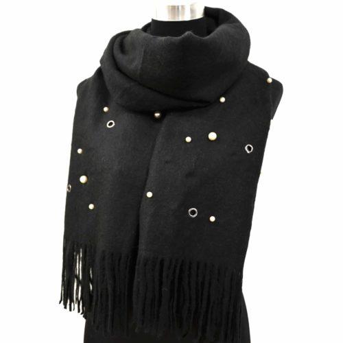 Echarpe-Longue-Laine-Chinee-Unie-avec-Multi-Perles-Oeillets-et-Franges-Noir