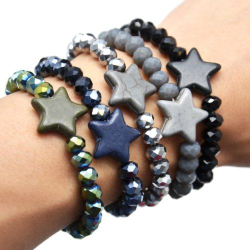 Bracelet-Elastique-Perles-Brillante-avec-Charm-Etoile-Pierre-Effet-Marbre