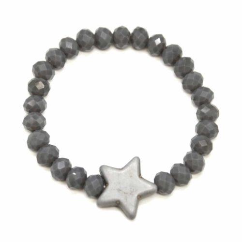 Bracelet-Elastique-Perles-Brillante-avec-Charm-Etoile-Pierre-Effet-Marbre-Gris