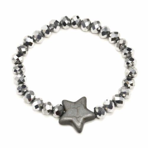 Bracelet-Elastique-Perles-Brillante-avec-Charm-Etoile-Pierre-Effet-Marbre-ArgenteGris