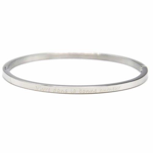 Bracelet-Jonc-Fin-Acier-Argente-avec-Message-Vivre-dans-la-bonne-humeur