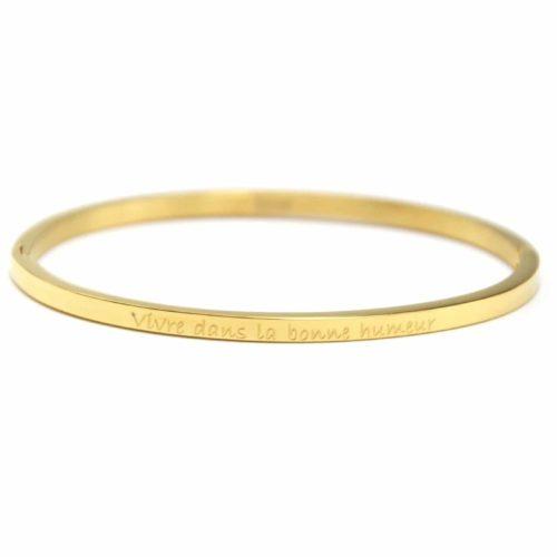 Bracelet-Jonc-Fin-Acier-Dore-avec-Message-Vivre-dans-la-bonne-humeur