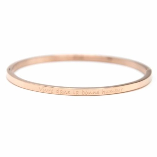 Bracelet-Jonc-Fin-Acier-Or-Rose-avec-Message-Vivre-dans-la-bonne-humeur