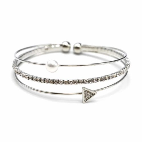 Bracelet-Jonc-Multi-Rangs-avec-Perle-Strass-et-Triangle-Metal-Argente