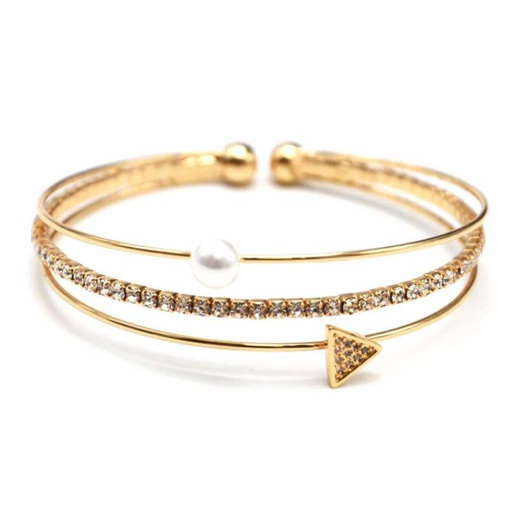 Bracelet-Jonc-Multi-Rangs-avec-Perle-Strass-et-Triangle-Metal-Dore