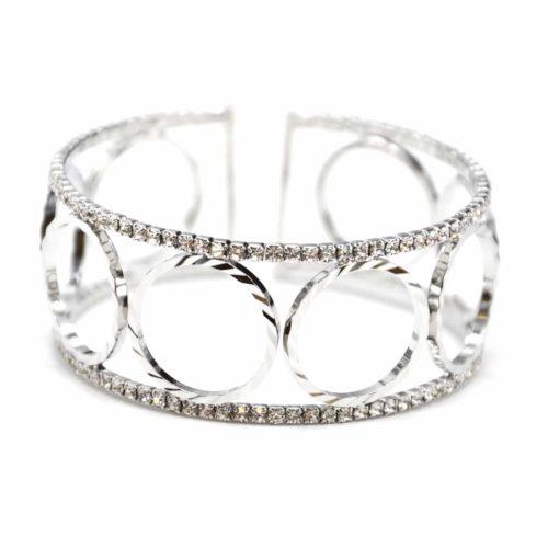 Bracelet-Manchette-Ouverte-Multi-Cercles-Metal-Argente-et-Contour-Strass