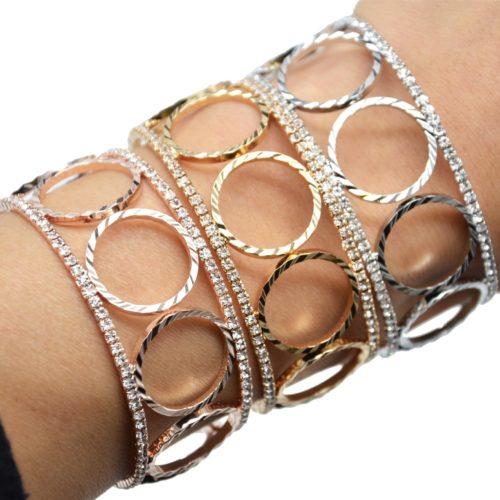 Bracelet-Manchette-Ouverte-Multi-Cercles-Metal-et-Contour-Strass