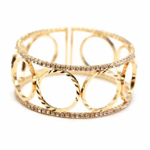 Bracelet-Manchette-Ouverte-Multi-Cercles-Metal-Dore-et-Contour-Strass