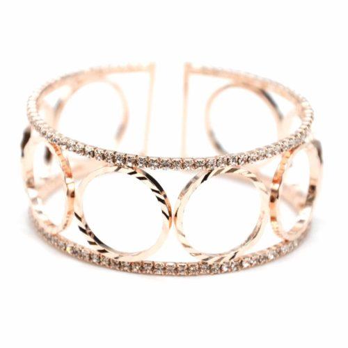 Bracelet-Manchette-Ouverte-Multi-Cercles-Metal-Or-Rose-et-Contour-Strass