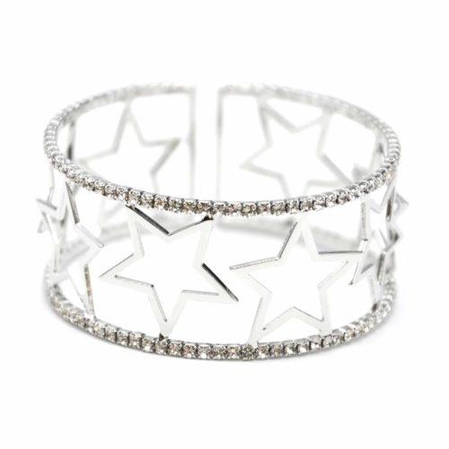 Bracelet-Manchette-Ouverte-Multi-Etoiles-Metal-Argente-et-Contour-Strass