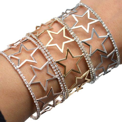 Bracelet-Manchette-Ouverte-Multi-Etoiles-Metal-et-Contour-Strass
