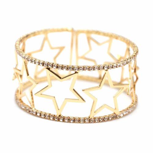 Bracelet-Manchette-Ouverte-Multi-Etoiles-Metal-Dore-et-Contour-Strass