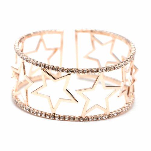 Bracelet-Manchette-Ouverte-Multi-Etoiles-Metal-Or-Rose-et-Contour-Strass