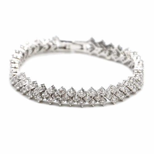 Bracelet-Gourmette-Multi-Pierres-Zirconium-et-Metal-Argente