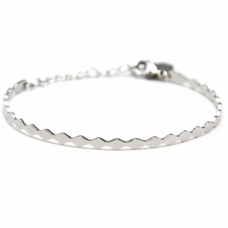 Bracelet-Jonc-Fin-et-Chaine-Acier-Argente-avec-Contour-Ondule