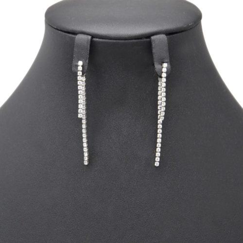 Boucles-dOreilles-Pendantes-Double-Rangs-Strass-Zirconium-et-Metal-Argente