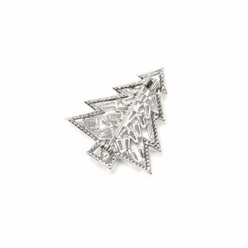 Broche-Epingle-avec-Sapin-Pierres-Zirconium-et-Contour-Strass-Metal-Argente
