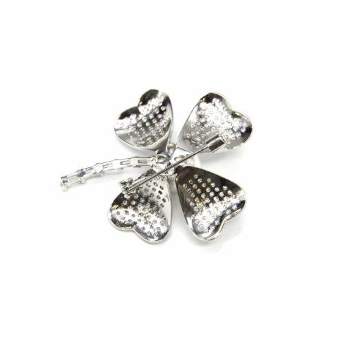 Broche-Epingle-avec-Trefle-Chance-Strass-Zirconium-Metal-Argente-et-Perle