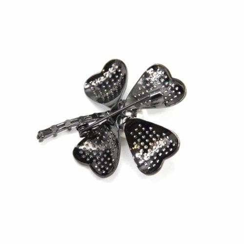 Broche-Epingle-avec-Trefle-Chance-Strass-Zirconium-Metal-Gris-et-Perle