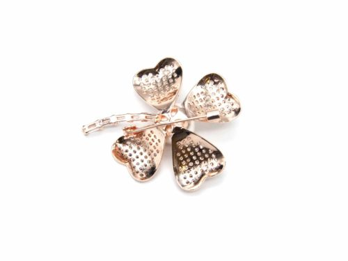 Broche-Epingle-avec-Trefle-Chance-Strass-Zirconium-Metal-Or-Rose-et-Perle