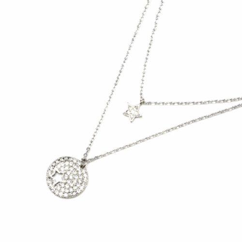 Collier-Double-Chaine-Metal-Argente-avec-Cercle-et-Etoile-Strass-Zirconium