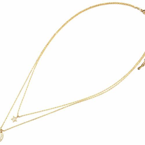 Collier-Double-Fine-Chaine-Metal-Dore-avec-Cercle-et-Etoile-Strass-Zirconium