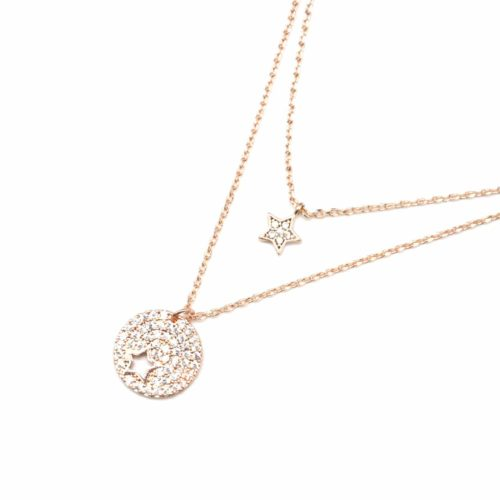 Collier-Double-Fine-Chaine-Metal-Or-Rose-avec-Cercle-et-Etoile-Strass-Zirconium