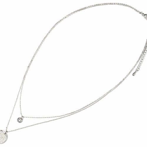 Collier-Double-Chaine-avec-Cercles-Metal-Argente-et-Strass-Zirconium