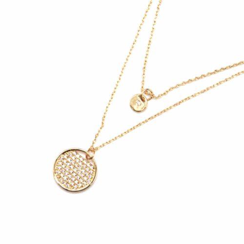 Collier-Double-Fine-Chaine-avec-Cercles-Metal-Dore-et-Strass-Zirconium