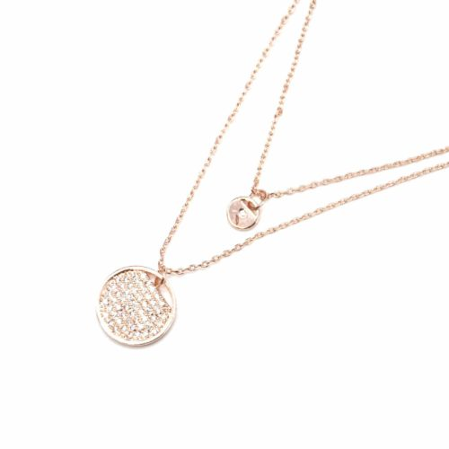 Collier-Double-Fine-Chaine-avec-Cercles-Metal-Or-Rose-et-Strass-Zirconium