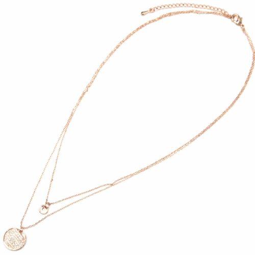 Collier-Double-Fine-Chaine-avec-Cercles-Metal-Or-Rose-et-Strass-Zirconium