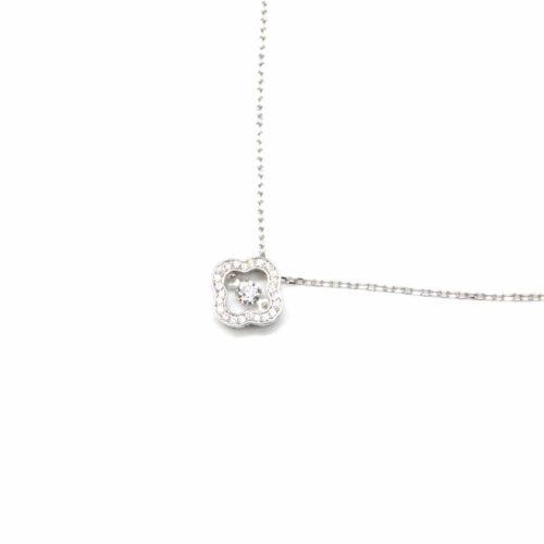 Collier-Fine-Chaine-Argent-925-Pendentif-Trefle-Contour-Strass-Zirconium-et-Pierre