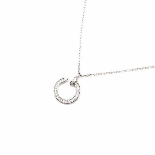 Collier-Fine-Chaine-Argent-925-Pendentif-Cercle-Ouvert-Strass-Zirconium