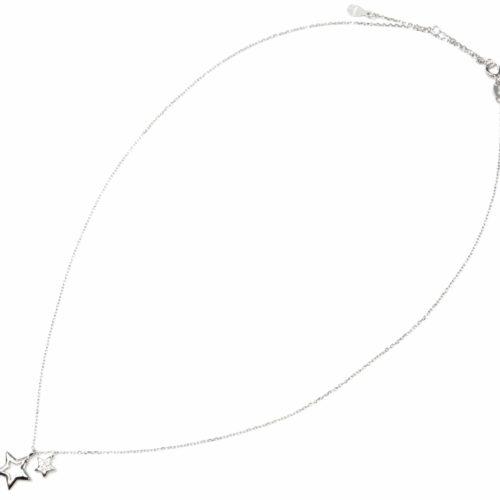 Collier-Fine-Chaine-Argent-925-Pendentif-Etoiles-Creuse-et-Strass-Zirconium