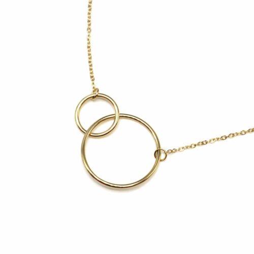 Collier-Fine-Chaine-Pendentif-Cercles-Entrelaces-Acier-Dore