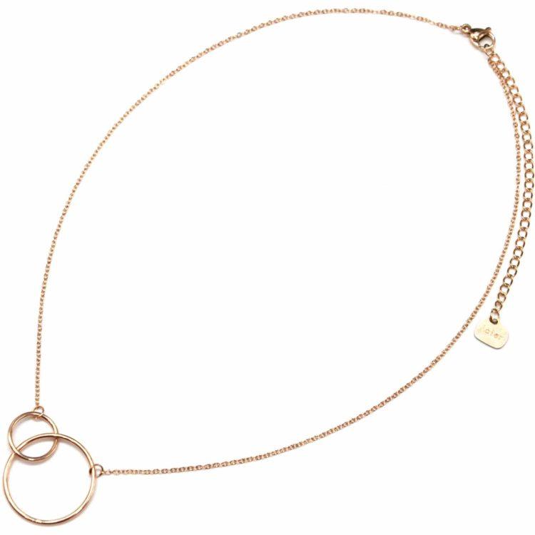 Collier-Fine-Chaine-Pendentif-Cercles-Entrelaces-Acier-Or-Rose