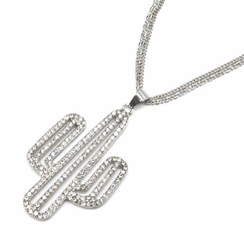 Sautoir-Collier-Multi-Chaines-Pendentif-Cactus-Strass-et-Metal-Argente