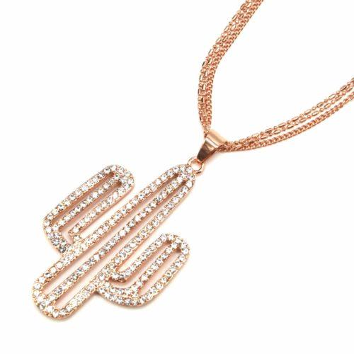 Sautoir-Collier-Multi-Chaines-Pendentif-Cactus-Strass-et-Metal-Or-Rose