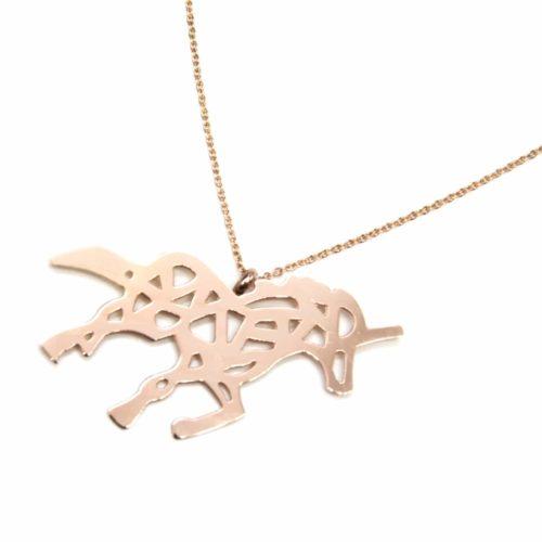 Sautoir-Collier-Fine-Chaine-Pendentif-Licorne-Ajouree-Acier-Or-Rose