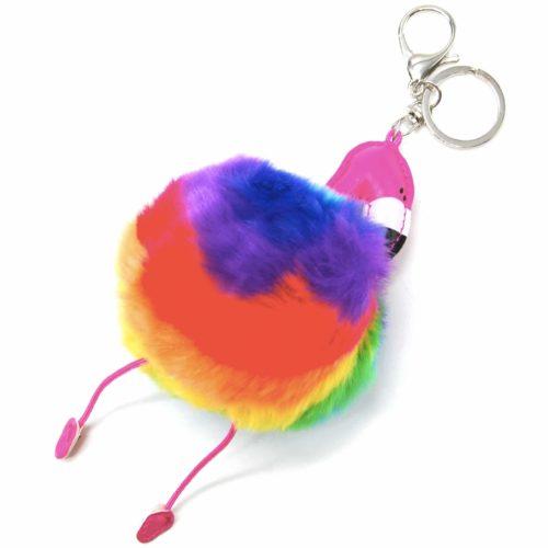 Porte-Cles-Bijou-de-Sac-Flamant-Rose-Simili-Cuir-avec-Pompon-Fourrure-Multicolore