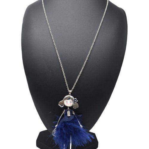 Sautoir-Collier-Pendentif-Poupee-Articulee-Robe-Sequins-Froufrous-et-Plumes-Bleu-Marine