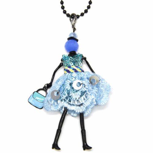 Sautoir-Collier-Pendentif-Poupee-Articulee-Robe-Sequins-et-Dentelle-Bleu