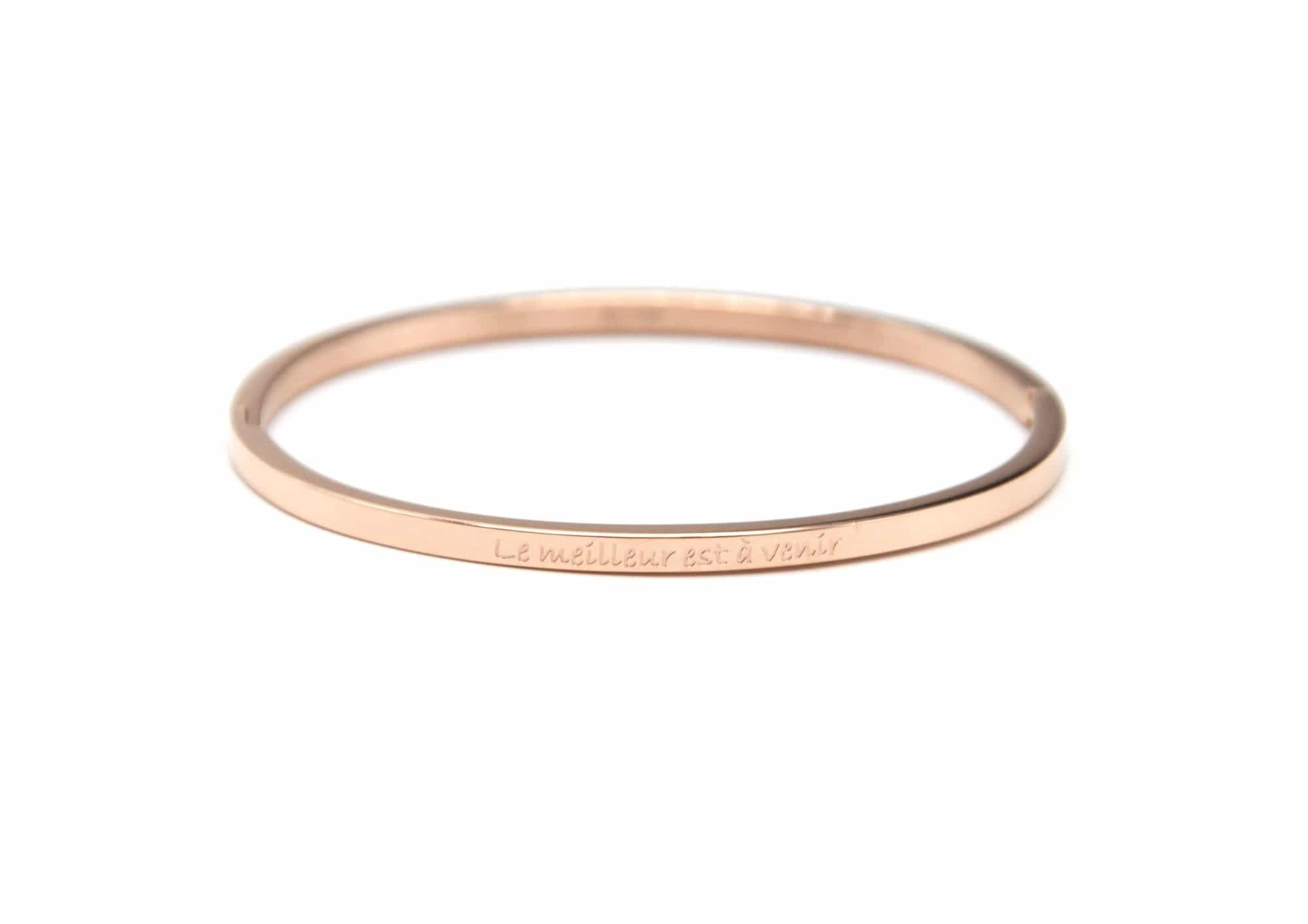 bc2299f bracelet jonc fin acier or rose avec message le meilleur est a venir oh my shop. Black Bedroom Furniture Sets. Home Design Ideas