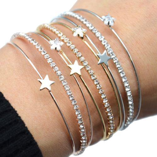 Bracelet-Jonc-Multi-Rangs-avec-Pierre-Strass-et-Etoile-Metal